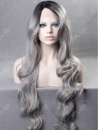 long hair 2015 evahair best seller grey silver ombre wavy long synthetic lace