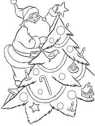 santa decorating christmas tree coloring pages christmas