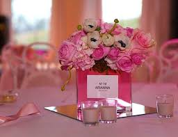 sweet 16 centerpieces parisian pink pink and black birthday arianna