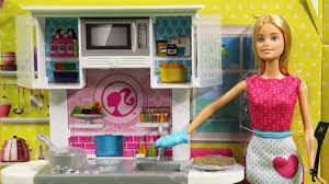 barbie doll and kitchen furniture set cfb62 md toys youtube