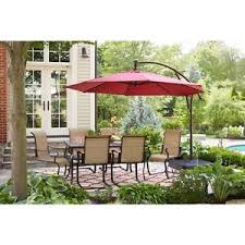 offset patio umbrella with led lights hton red 11 offset 40 solar led lights patio umbrella steel pole