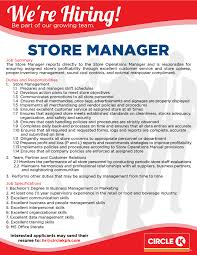 Store Manager Job Resume by Job Openings Circle K Philippines Circle K Philippines