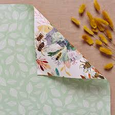 sided wrapping paper sided gift wrap mint leaves wrapping paper honey