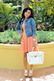 summer dress denim jacket and white heels and bag u003d my summer