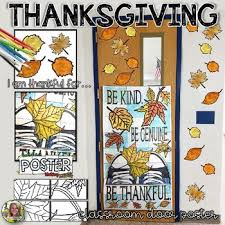 thanksgiving writing autumn collaborative classroom door poster