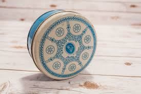 vintage betty anne creamy mints blue white tin round decorative