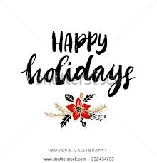 happy holidays calligraphy handwritten modern stock