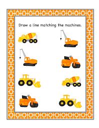 preschool printables construction vehicles edutainment