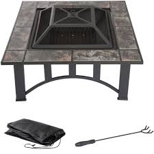 fire pit poker fire pit set wood burning pit includes screen cover and log