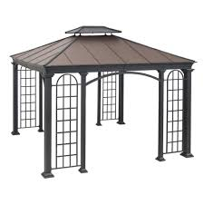 sunjoy summerville 10 ft x 12 ft faux copper hard top gazebo