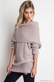 oversized shoulder sweater chunky foldover the shoulder knit sweater top taupe