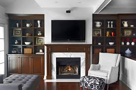 ModernfireplacemantelsFamilyRoomTraditionalwithbuiltin - Family room storage cabinets
