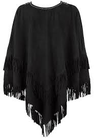 Double D Ranch Clothing Double D Ranch Machito Suede Poncho Pinto Ranch