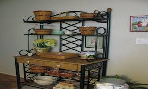 Kitchen Bakers Rack Cabinets by Kitchen Bakers Racks Wrought Iron Corner Hutches Accessories