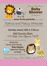 zoo jungle safari animals pink polka dots baby shower invitation