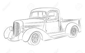 Vintage Ford Truck Art - hotrod pickup drawing royalty free cliparts vectors and stock
