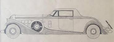 duesenberg roadster vintage car original pencil drawing