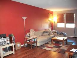 red wall living room