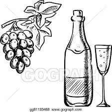vector art wine bottle glass and grapes sketch clipart drawing