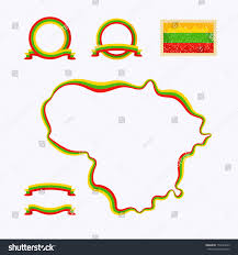 Map Of Lithuania Outline Map Lithuania Border Marked Ribbon Stock Vector 154223459