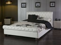 Faux Bed Frames Wonderful Limelight Bed Frame White Faux Leather 5ft