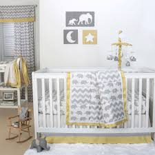 the peanut shell 4 piece baby crib bedding set grey elephant and