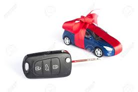 car gift bow gift car concept with bow and car key on focus stock photo