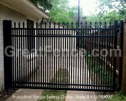 industrial single swing aluminum gate spear top 2x pickets