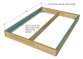 Full Size Platform Bed Plans Free by Ana White Much More Than A Chunky Leg Bed Frame Diy Projects