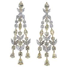 chandelier earings yellow and white diamond chandelier earrings for sale at 1stdibs