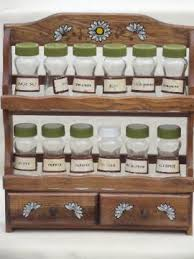 Wooden Spice Rack Wall Retro Kitchen Canisters