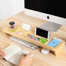 Electronic Desk Organizer Bamboo Wood Tidy Office Desktop Storage Rack Desk Organizer