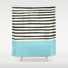 Gray And Teal Shower Curtain Stripe Shower Curtains Society6