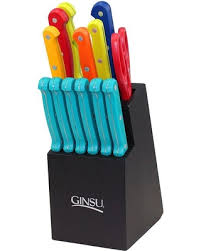 ginsu kitchen knives amazing deal on ginsu 14 pc mixed color knife block set with teal