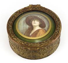 Gilt Bonze Enameled Portrait Gilt Bronze Enamel Miniature Portrait Jewelry Box C1930