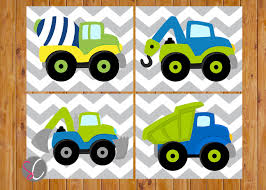 instant download boys construction truck vehicles wall art toddler