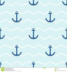 tile sailor vector pattern with anchor on white and blue stripes