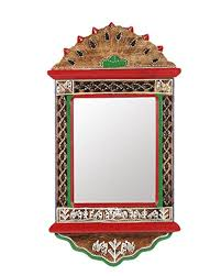 Home Decor Gift Items Vareesha Ethnic Warli Hand Painted Wooden Mirror Hancrafted Home