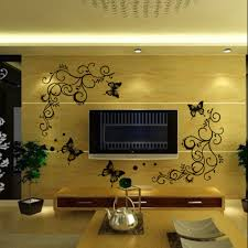 3d lowest price calssic black butterfly flower wall sticker home 3d lowest price calssic black butterfly flower wall sticker home decor poster flora butterflies tv wall beautiful decoration in wall stickers from home