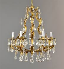 Tole Chandelier Italian Gold Gilded Tole Chandelier C1950