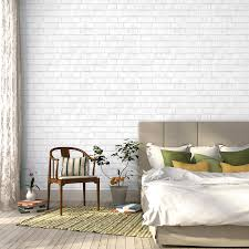 off white brick effect wallpaper in my teenagers bedroom finished