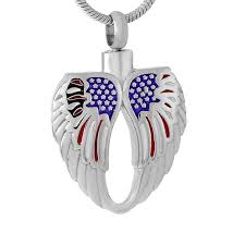 jewelry to hold ashes ijd9550 the usa national flag angel wing cremation urn pendant