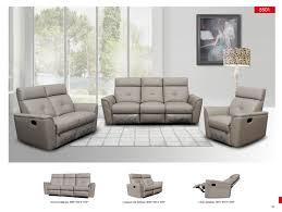 8501 recliner light grey leather modern 3 pcs sets living room