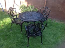Cast Aluminium Outdoor Furniture by Cast Aluminium Garden Table And 3 Chairs One Is Broken In