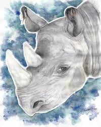 Glynis Barnes Mellish Rhino In Watercolour By Glynis Barnes Mellish Now Available On