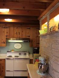 retro kitchen with pine cabinets and retro appliances durable