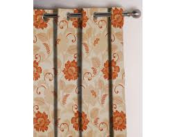 Floral Jacquard Curtains Online Presto Rust Colour Floral Jacquard Curtain India Ready Made