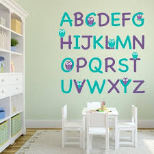 Wall Decal Letters For Nursery Purple And Turquoise Owl Alphabet Wall Decal Set Wall Decal World