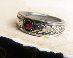 mens rustic wedding bands celtic engraved gemstone ring 14k white gold men s celtic