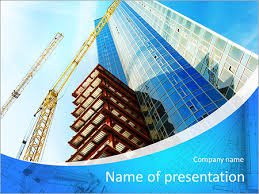 building of a skyscraper with two tower cranes powerpoint template